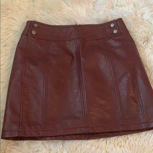 Burgundy faux leather mini skirt